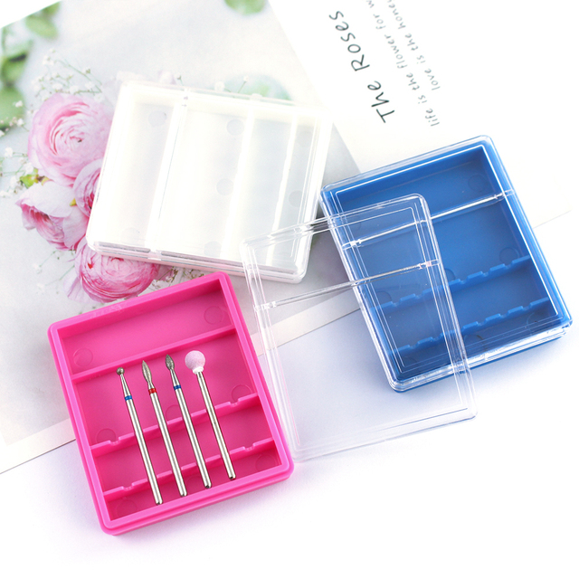 10/20/30 Slots Clear Storage Box For Electric Nail Drill Bit Rotary Files Holder Display Nail Accessorie Tools 5