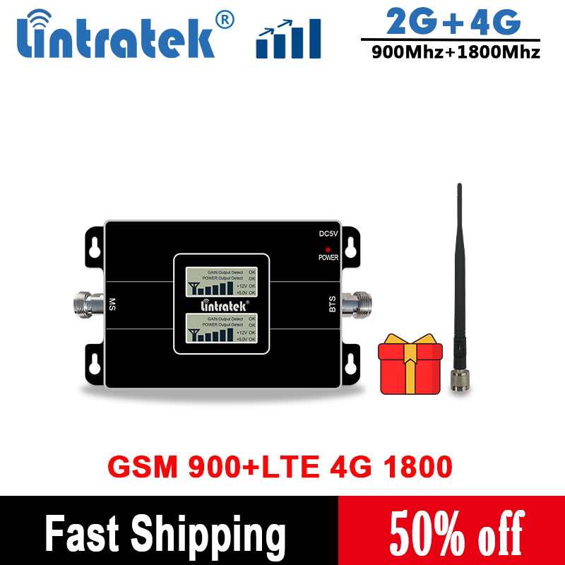 Lintratek 2G 4G 1800 Cellular Amplifir GSM 900 LTE Mobile Phone Booster 2G 4G 65dB Dual Band Signal Booster/Amplifier Antenna