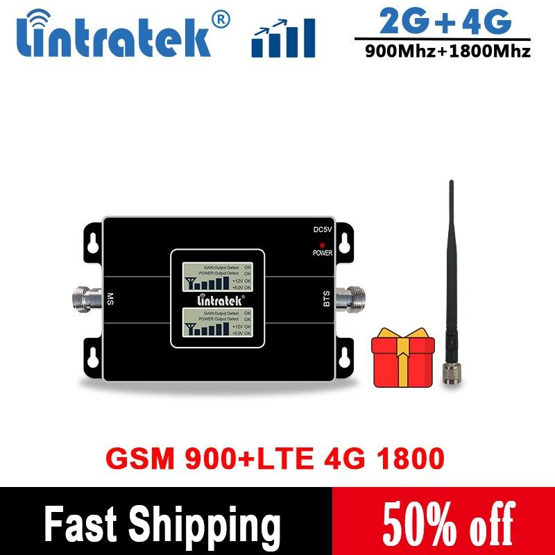Lintratek 2G 4G 1800 Cellular Amplifir GSM 900 LTE Mobile Phone Booster 2G 4G 65dB Dual Band Signal Booster/Amplifier Antenna
