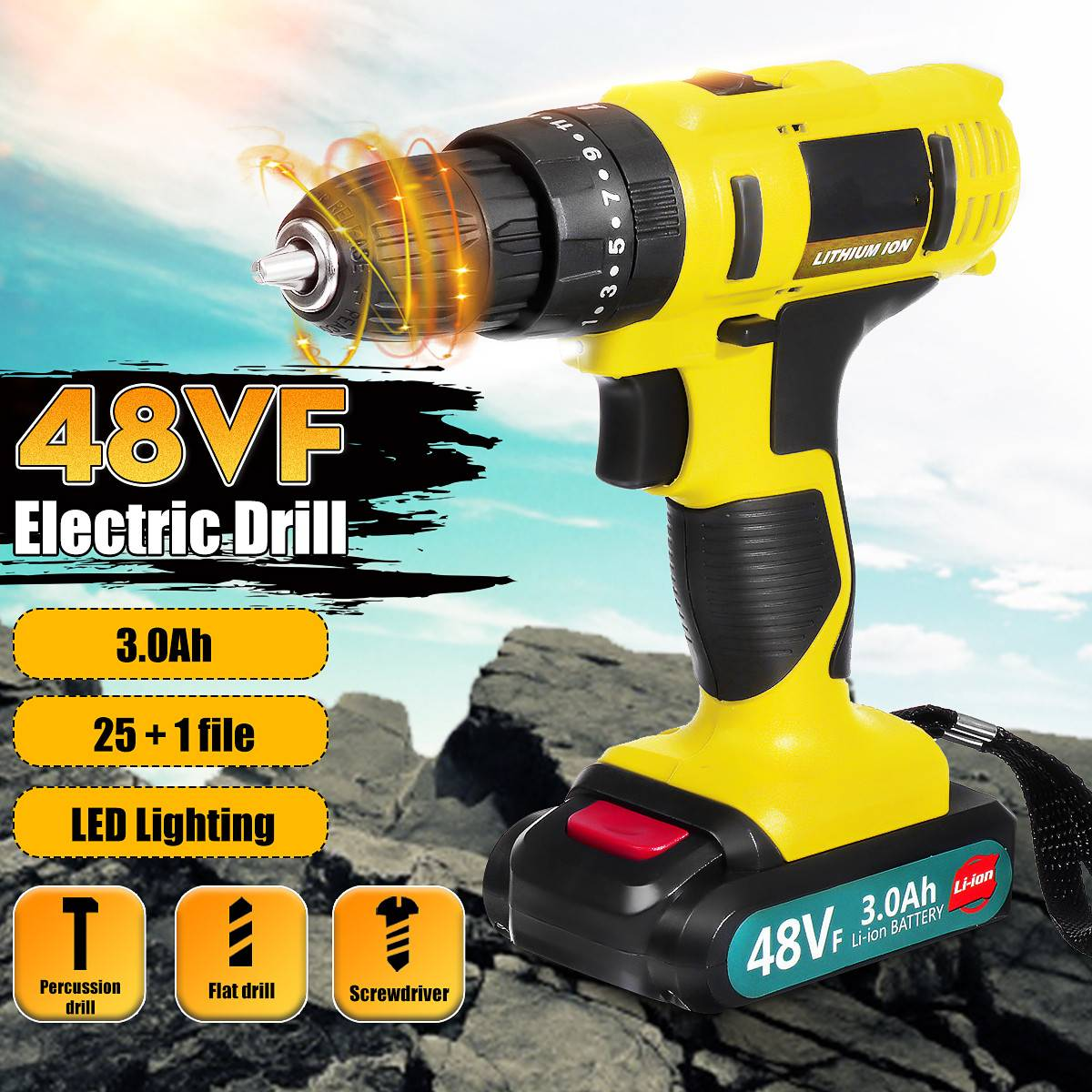 48VF 21V Electric Screwdriver 3 Speed Cordless Impact Drill Power Tool With Dual 3000mAh Rechargeable Li-ion Battery Power Tool