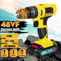 48VF 21V Electric Screwdriver 3 Speed Cordless Impact Drill Power Tool With Dual 3000mAh Rechargeable Li ion Battery Power Tool