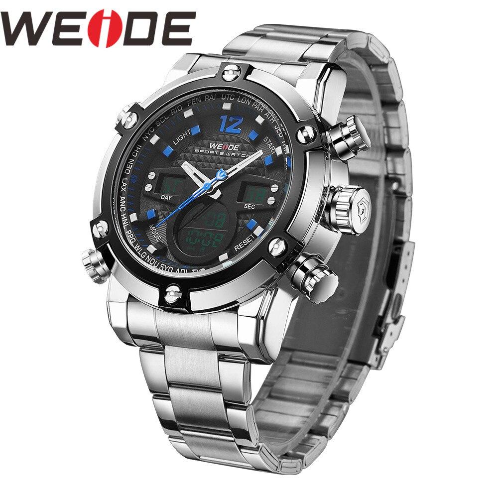 WEIDE Men Watch Relogio Masculino Watch Date Alarm Reloj Hombre Zone Men's Watches Quartz Military Digital Wrist LCD Men Watch