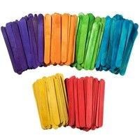 Color Wooden Popsicle Stick Ice Cream Bar Large Craft Bar 6 Colors 500 Sticks