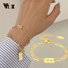 Vnox elegancka nazwa niestandardowa początkowa bransoletka damska złoty Tone solidna stal nierdzewna Lara prostokąt Link Chain z K18 Stamp
