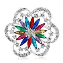 European and American fashion Acrylic Multicolor Brooch Rhinestone popular temperament Sun flower Alloy Big