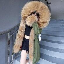 Abrigo de piel auténtica para mujer, Parkas con cuello de piel, kurtka damska, forro de piel de zorro natural, parkas con capucha