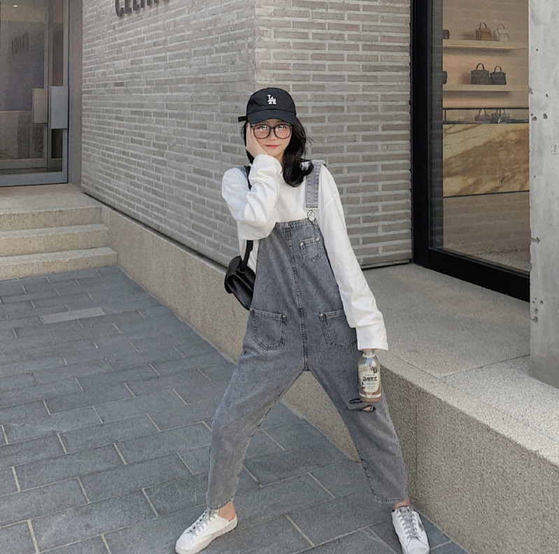 2020 Spring And Autumn New Youth Popular Ladies Solid Color Loose Jeans Fashion Casual Wild Bib Pants Blue / Sky Blue /Gray S-XL