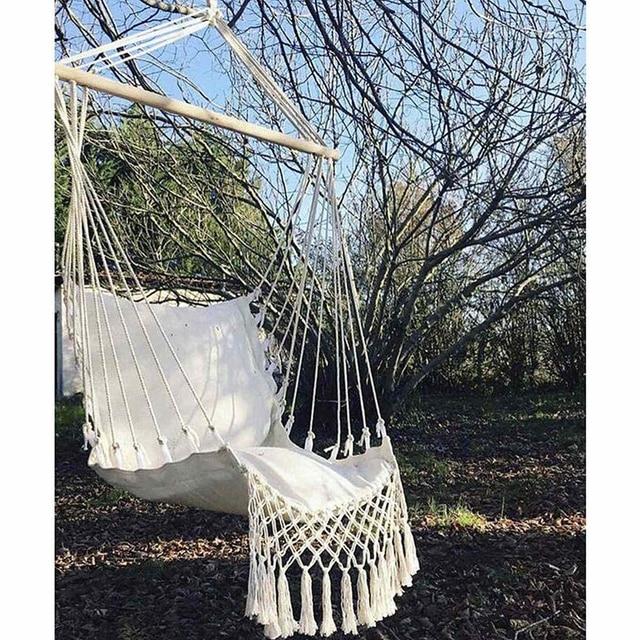 Nordic Style Home Garden Hanging Hammock Tassel Hammock Chair Outdoor Indoor Dormitory Swing Hanging Chair with Wooden Rod 4