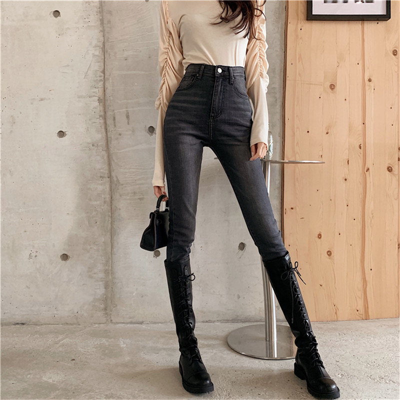 Real Shot 2019 New Korean Fashion Design Wild Slim Slim Stretch Jeans Washed Retro High Waist Feet Jeans