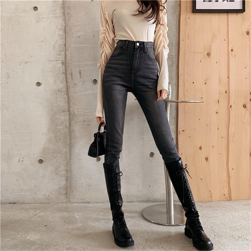 Real Shot 2019 New Korean Fashion Design Wild Slim Slim Stretch Jeans Washed Retro High Waist Feet Jeans