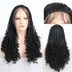 RONGDUOYI Schwarz Haar Synthetische Spitze Front Perücke Lange Geflochtene Box Zöpfe Perücken für Frauen Hitze Beständig Faser Haar Vordere Spitze perücken