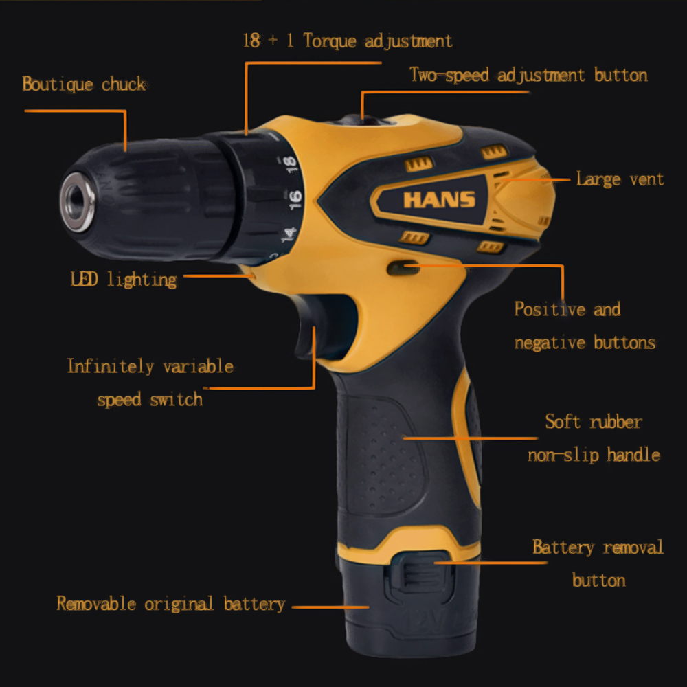 Tools : 12V Mini Cordless Drill Machine Electric Power Tools 2 Batteries Wireless Lithium Rotary Drill taladros parafusadeira screwdrive