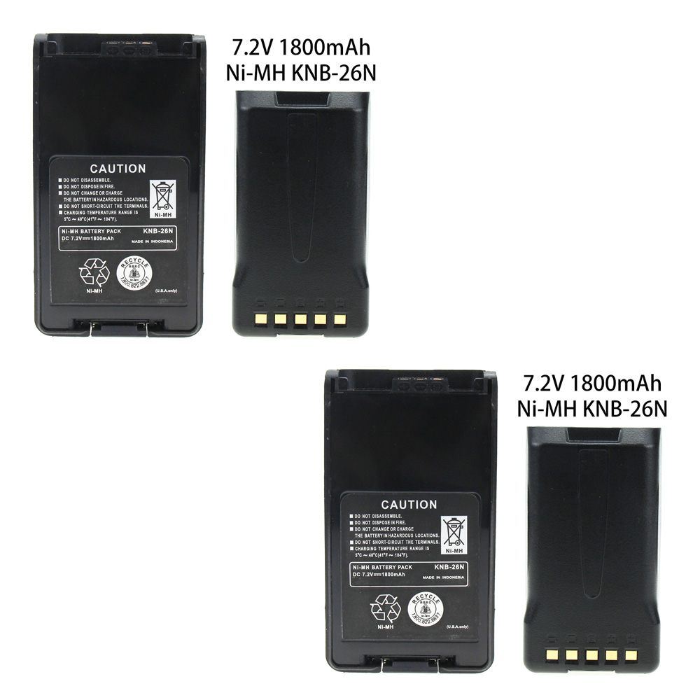 2 Pcs 7.2v 1800mAh NiCd Two-way Radio Battery Extended Replacement For Kenwood KNB-25 KNB-26 KNB-25A KNB-26N TK-2170 TK-3170