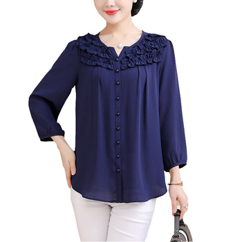 Blouse women 2020 Plus size 5XL Loose womens tops and blouses o-neck chiffon print shirt summer Blouse new summer women blouse loose o neck chiffon shirt female short sleeve blouse plus size 6xl shirts womens tops and blouses top