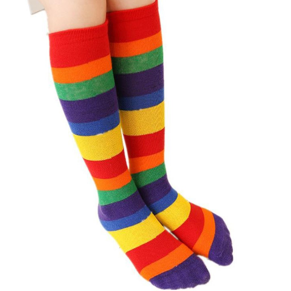 Spring Autumn Fashion Girl Boy Cotton Knee High Socks For Children 2-12Y Colorful Striped Rainbow Tube Long Socks Children