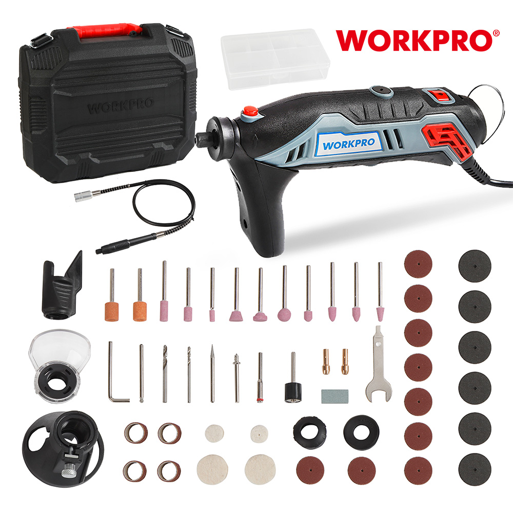 Workpro 130ワット可変速回転工具キット彫刻電気ミニドリルグラインダーw/フレキシブルシャフト & 182ピースアクセサリー