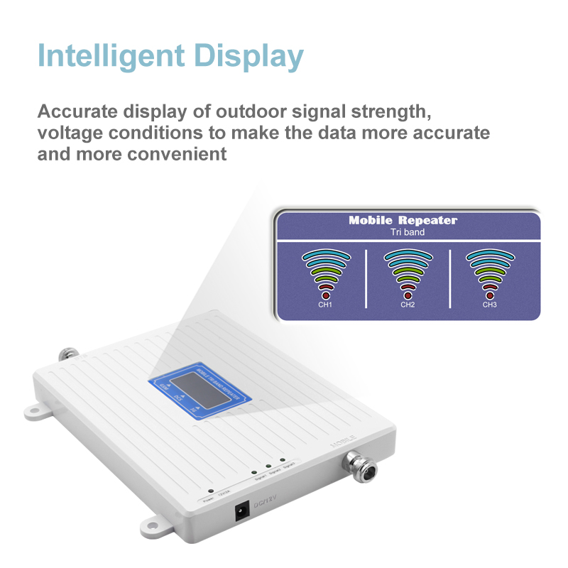 Image 2 - 2G 3G 4G Tri Band Signal Repeater Cellular Signal Booster GSM 3G 4G 900 1800 2100 Mobile Phone Signal Amplifier 4G Antenna Kit  -in Signal Boosters from Cellphones & Telecommunications