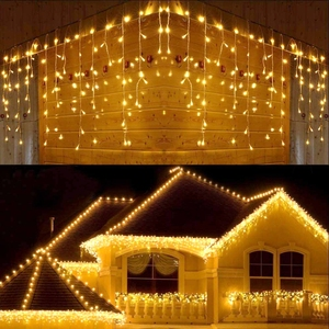 Image 5 - 5M Waterproof Outdoor Christmas Light Droop 0.4 0.6m Led Curtain Icicle String Lights Garden Mall Eaves Decorative Lights