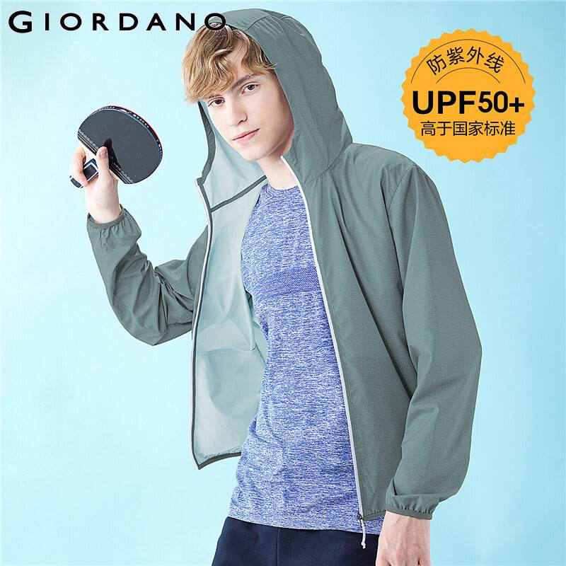 Giordano Men Jackets Lightweight Anti Ul UPF 50+ Traviolet Hooded Windbreakers Interior Pocket Banded Casaco Masculino L01070091