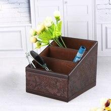 Rétro boîte de rangement en polyuréthane boîte à conteneurs fleur à motifs avec 3 compartiments télécommandes maquillage fournitures de bureau boîte organisateur