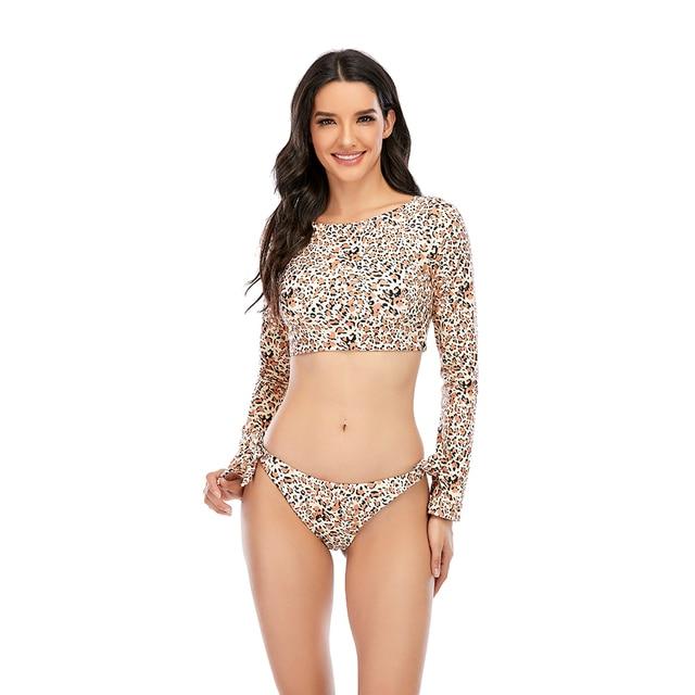 Surfing Swimsuit For Women Bikini Long Sleeve Swimwear Tiger Print Push Up Summer Bath Suit Two Piece Bandeau Biquini