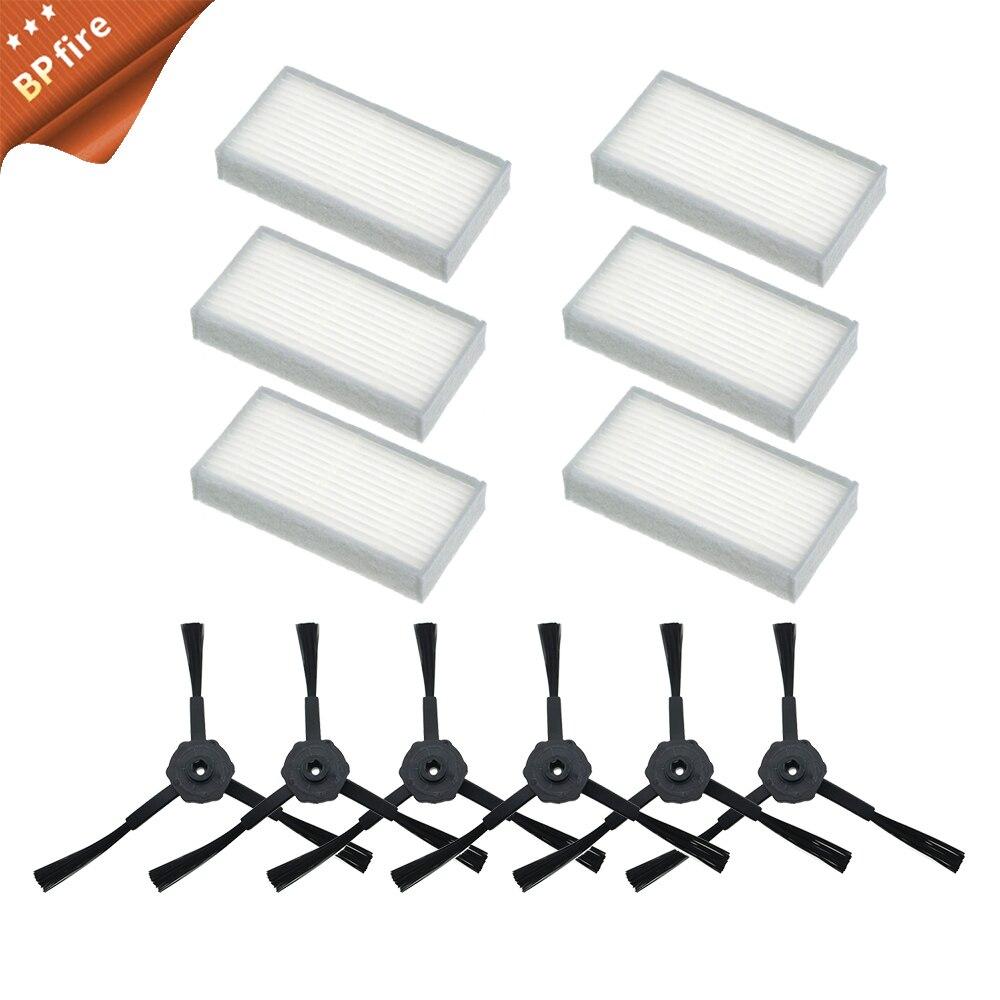 6x Side Brush 6x HEPA Filter Kit For CHUWI Ilife V5s V5 X5 Ilife V3s V3s Pro V3l V5s Pro V50 Robot Vacuum Cleaner BPfire