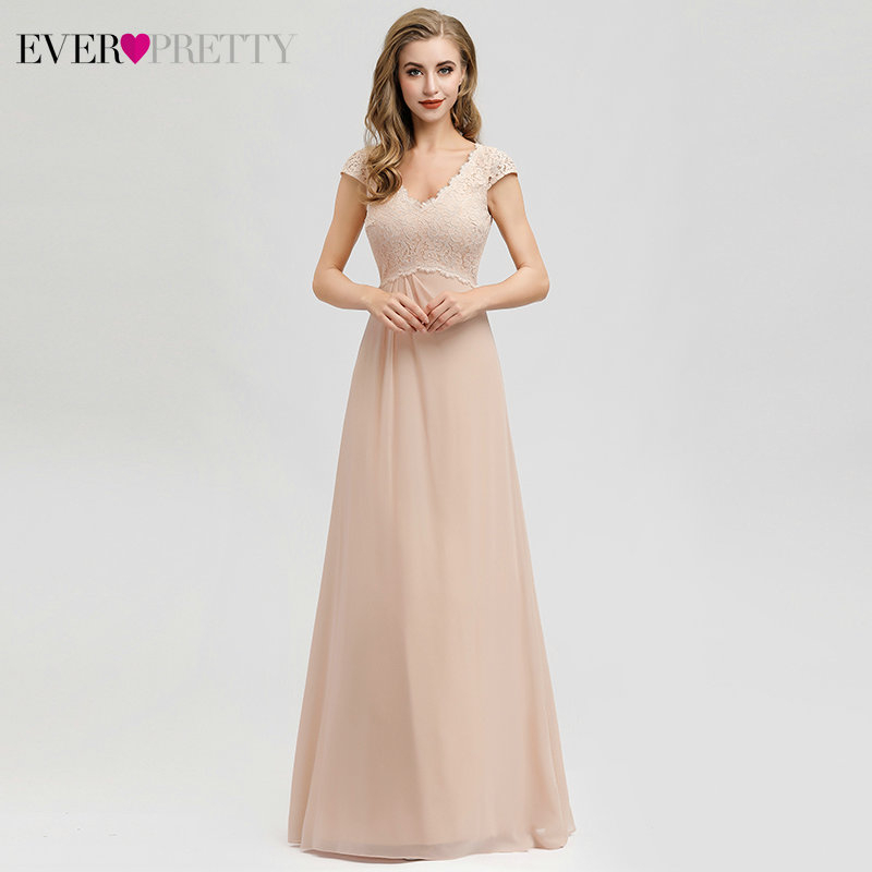 Elegant Blush Bridesmaid Dresses Ever Pretty A-Line Ruched V-Neck Cap Sleeve Floral Lace Wedding Party Gowns Vestido De Noiva