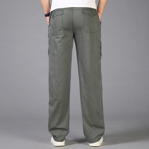 Image 3 - Pantalon Cargo pour hommes, poches 2020, grande taille 5XL, respirant, grande taille, été, droit, Long, collection décontracté