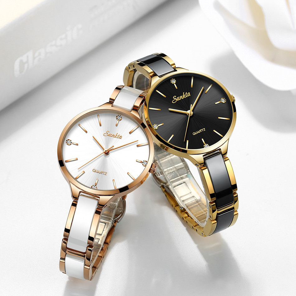 Sunkta relógio feminino relógio de cerâmica feminino