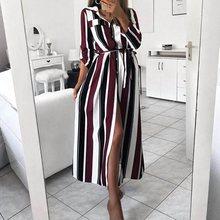 2019 Turn Down Collar Belt Office Ladies OL Stripe Shirt Dress Long Beach Dress Casual Long Sleeve Elegant Party Dress Vestidos цена