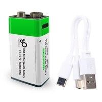 Batería recargable de iones de litio de 9V, 650mAh, USB tipo C, iones de litio, 9V, micrófono, Detector de Metal
