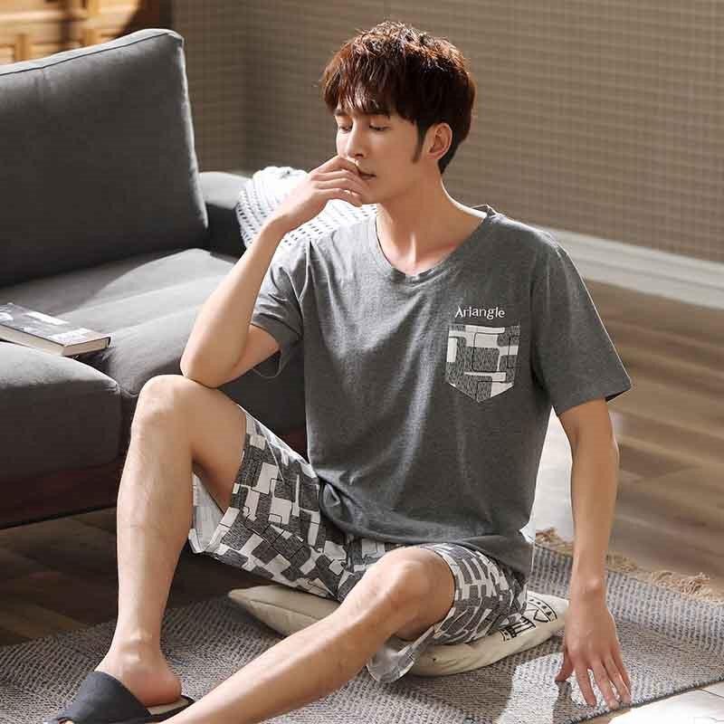 Men's Pajamas Set Large Size L-3xl Short Sleeve O-Neck Pajamas 2020 New Men's 100% Cotton Pajamas Plaid Shorts