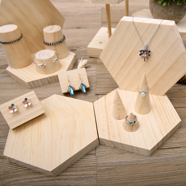15 Pieces S/M/L Size Cone Shape Natural Unpainted DIY  Wood Jewelry Display Ring Holder Display Rack Stand Organizer
