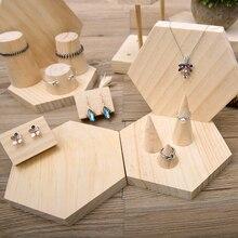 15 pezzi S/M/L Dimensioni Forma di Cono Naturale Non Verniciato FAI DA TE In Legno Jewelry Display Anello di Visualizzazione Titolare Cremagliera stand Organizzatore