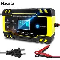 Cargador de batería portátil para coche, 12V, 24V, pantalla táctil, reparación de pulsos, carga rápida LCD, húmedo, seco, ácido de plomo, pantalla LCD Digital