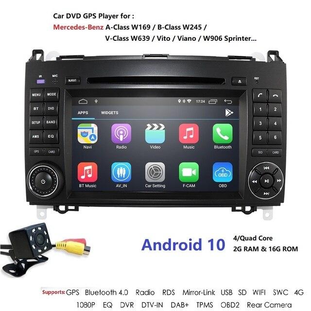 Android 9 2Din Auto Autoradio DVD GPS unità di Testa per Mercedes Benz B200 B Classe W169 W245 Viano Vito w639 Sprinter W906 Bluetooth