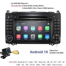 Android 9 2Din Auto Radio Carro DVD GPS unidade de Cabeça para Mercedes Benz B200 B Classe W169 W245 Viano Vito sprinter W639 W906 Bluetooth