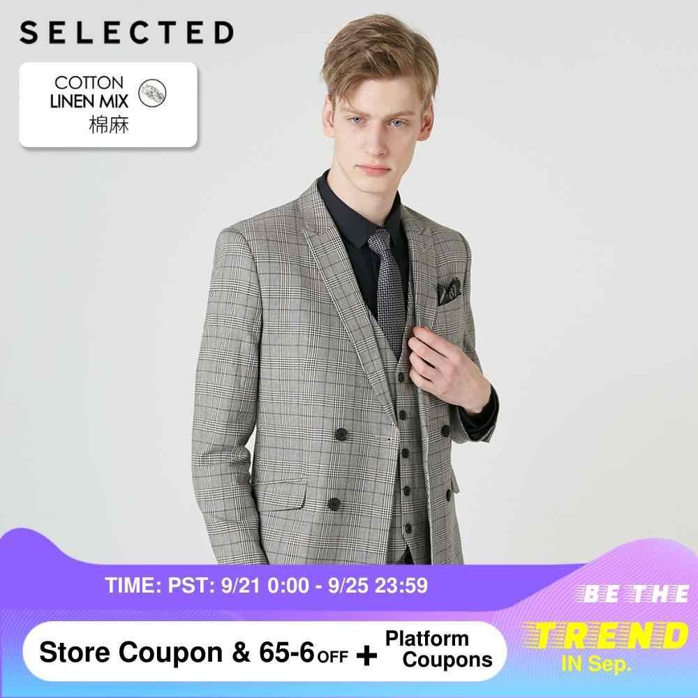 SELECTED 남성 코튼 블렌드 체크 무늬 더블 브레스트 재킷 S   419272513