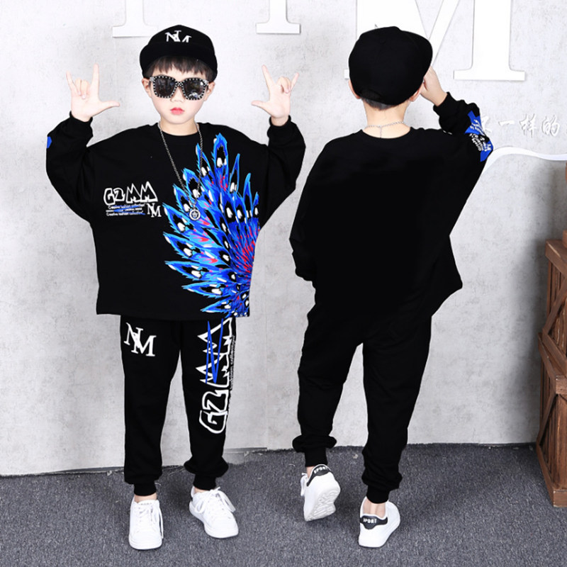 Feather Boys Kids Clothes 2019 Spring Autumn Cartoon Pants 2Pcs Suits Tracksuits Children Boys Girls Bohemia Style Clothing Sets