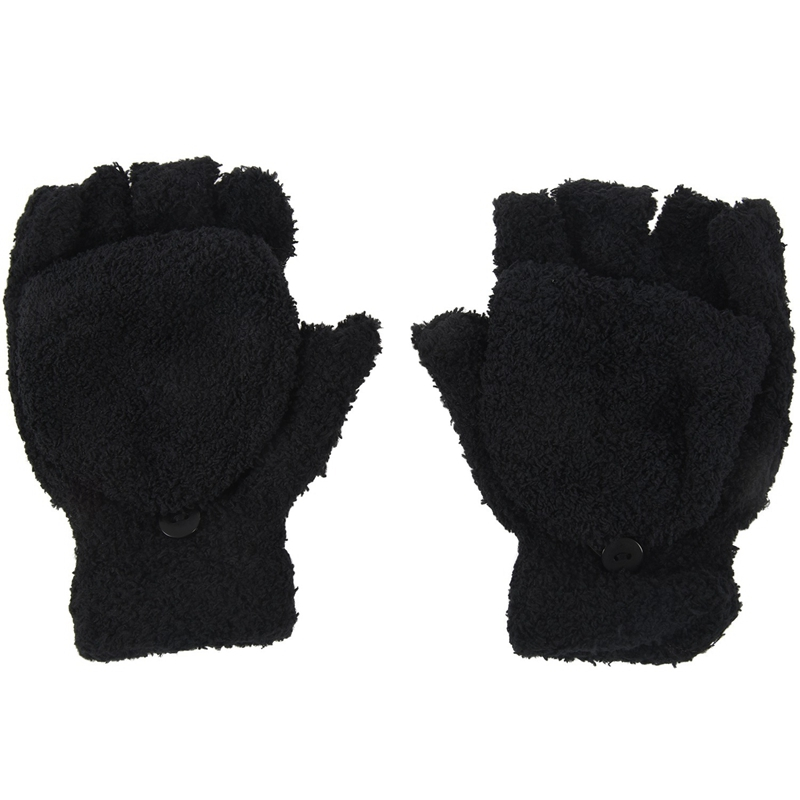 Girls Cute Fluffy Hand Wrist Warmer Soft Winter Fingerless Gloves Women Mitten Black
