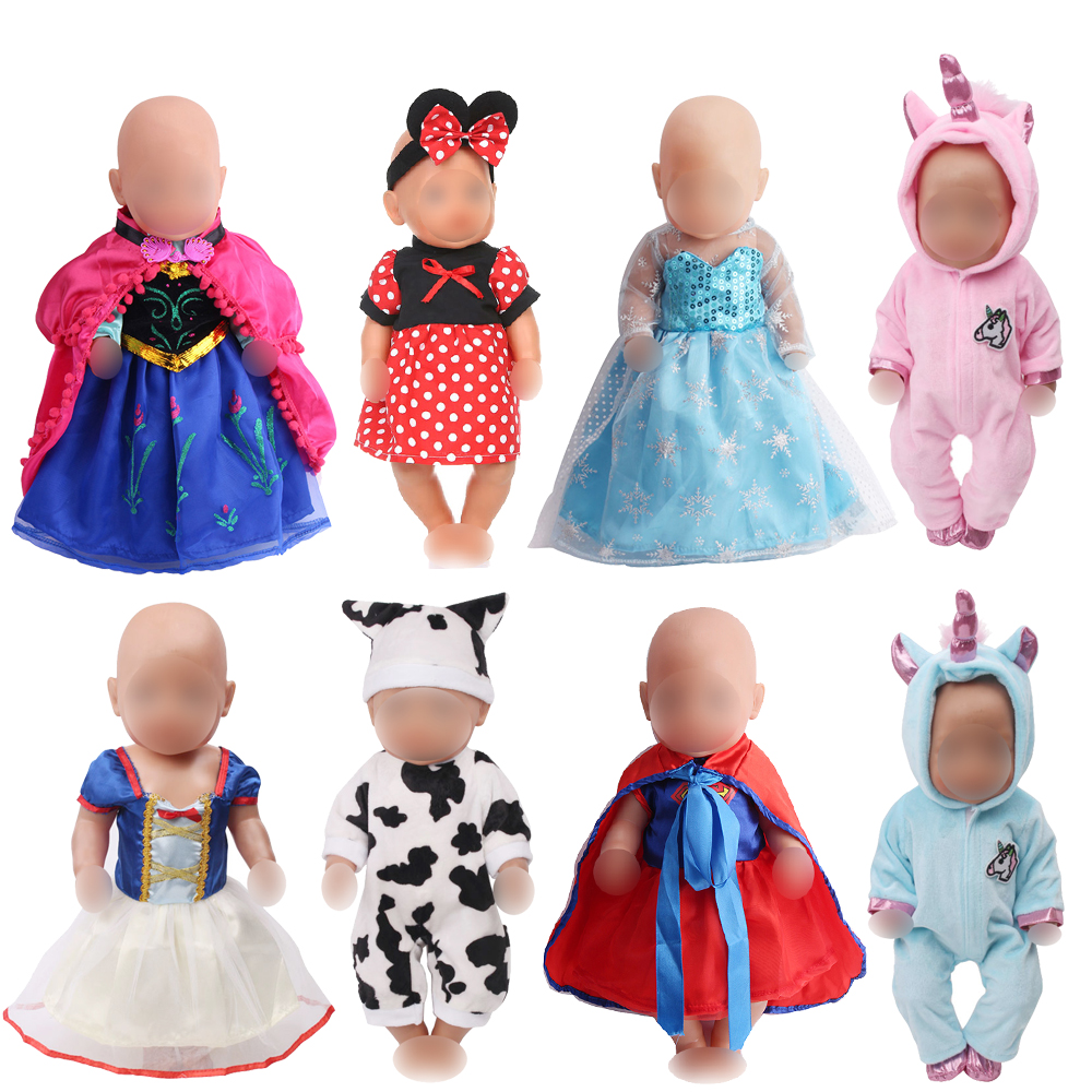 43 Cm Baby Dolls Clothes Newborn Snow White Princess Ann Dress Unicorn Jumpsuit Baby Toys Fit American 18 Inch Girls Doll F41