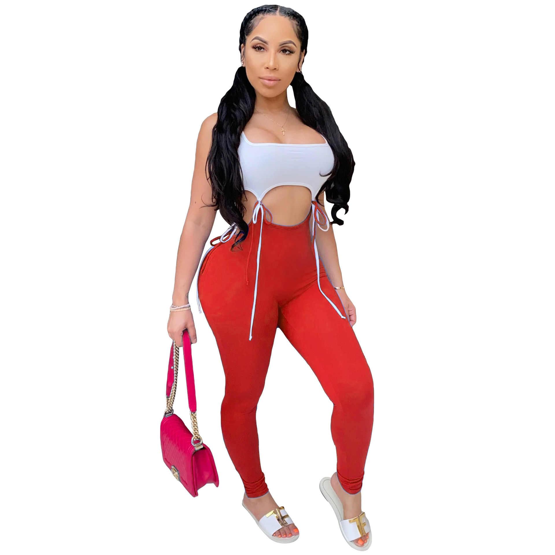 Seksi spor Neon tulum yaz 2020 spor dantel Up kırpma üst ile Leggins pantolon vücut tulum kadın tulum iki parçalı seti