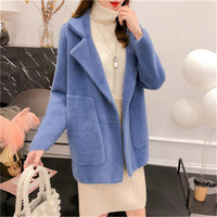 2019 Fashion Imitation Mink Cashmere Knit Cardigan Women Autumn Winter Casual Super Soft Solid Color Sweater Ladies Thick Coat