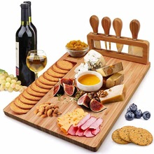 Knife/Set Cheese-Board Cooking-Tools Bamboo with Slide-Out Drawer 4PCS