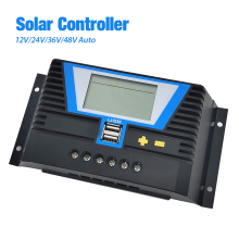 PWM Solar Charge controller 30A/60A/80A 12/24/36/48V Solar Charge Auto Backlight LiFePO4 lithium Battery  USB Output 5V/2A ×2