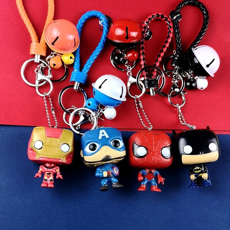 3D мультяшная фигурка ПВХ Marvel Мстители брелок милый супергерой Бэтмен человек паук маленький брелок с колокольчиком брелок для ключей