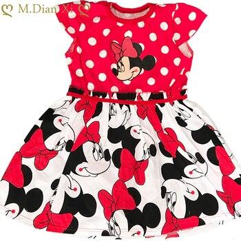 Летнее платье для девочек платье с рисунком Минни Маус костюм для маленьких девочек милое платье-пачка принцессы для рождественской вечеринки От 2 до 6 лет одежда для детей