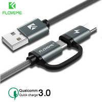 FLOVEME QC3.0 USB Typ C Kabel für Samsung Galaxy Note 9 S9 2.8A Micro USB Kabel 2 in 1 Schnelle ladung USB C Kabel für Redmi Hinweis 7