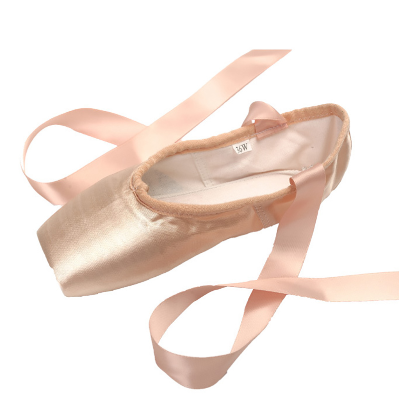 USHINE 29-44 professional high quality  ladies satin ballet shoes with ribbons ballet pointe shoes ballerina girls woman