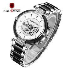 Kademan高級クリスタル腕時計ledディスプレイ女性トップブランドステンレス鋼レディース腕時計ブレスレット時計レロジオfeminino